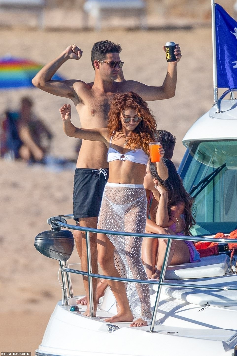 All aboard the love boat! Hyland danced on the deck of the boat with her fiance Wells Adams