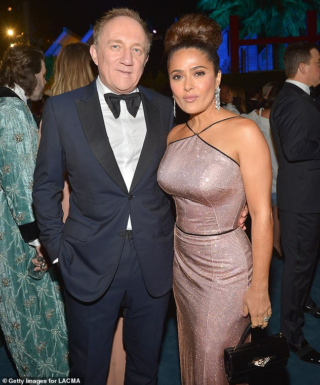 Smitten:Salma and her French businessman husband have been married since 2009, after tying the knot in a lavish Paris ceremony on Valentine's Day (pictured in 2019)