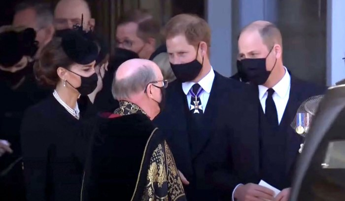 Prince Harry Chats With Prince William Duchess Kate Following Prince Philips Funeral
