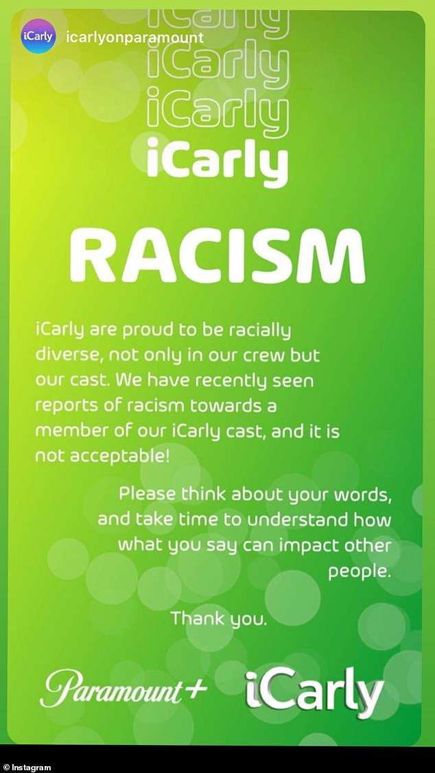 'It is not acceptable!'Paramount+ and iCarly put out a statement on Sunday backing up the cast and crew of the revived series after Mosley took to social media to post about the racism she has encountered in recent weeks