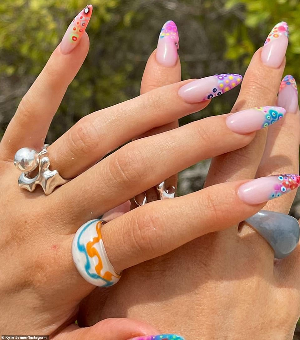 Rings n things for Kylie: The siren also shared a closeup look of her glass and silver rings and intricate manicure