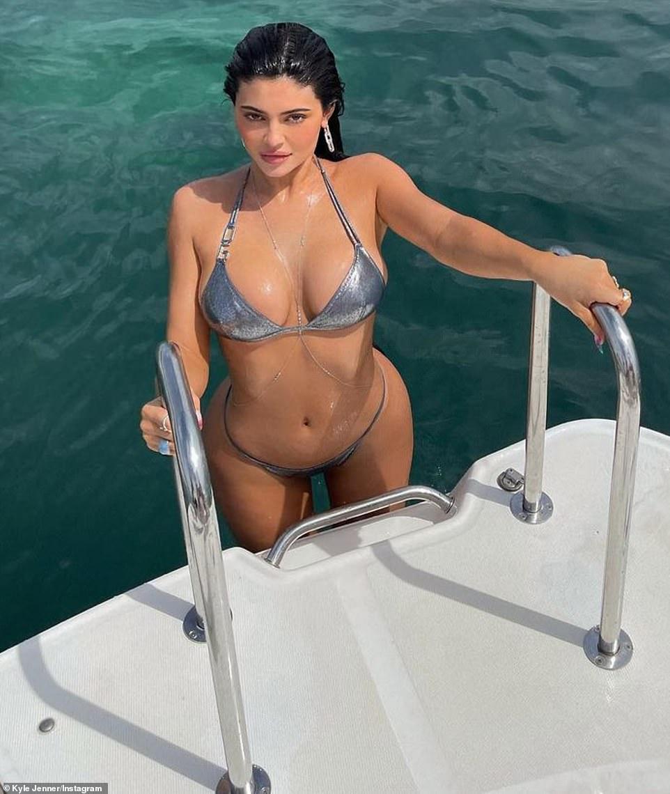 Fun in the sun:Kylie Jenner treated her 233million Instagram followers on Monday morning to a portfolio of bikini photos taken while on a girls beach trip