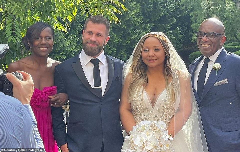 Proud papa:Al Roker (far right) and his wifeDeborah Roberts (far left) pose with their daughter Courtney at her wedding to Wesley Richard