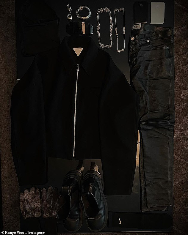 His outfit:Kanye capped off the photo set with an image of all of his clothing and jewelry from the photos laid out on a table, as if he was advertising it