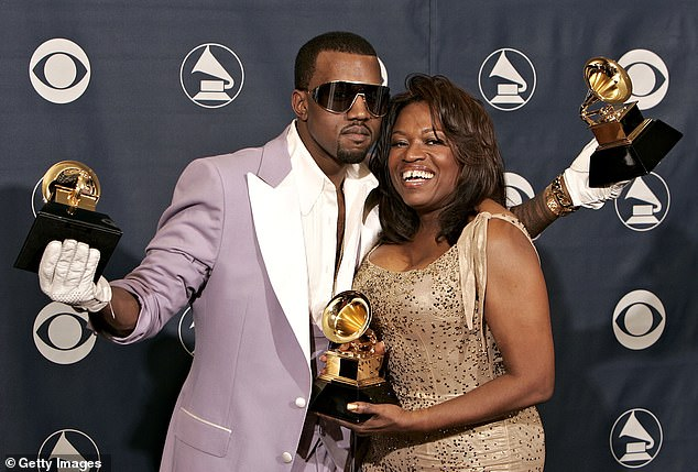 In memoriam: Donda is named after the rapper's late mother Dr. Donda C. West, an English professor who retired to manage his early career. She died in 2007 from complications of cosmetic surgery; seen together in 2006