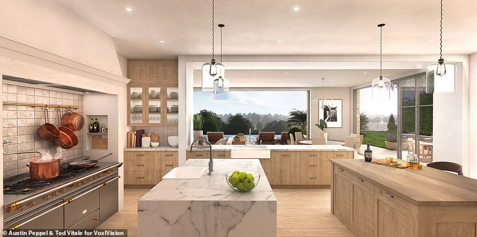 Food for thought:An open kitchen offers plenty of room to cook and entertain, equipped with state of the art appliances, a marble island, and a second island for bar-style dining