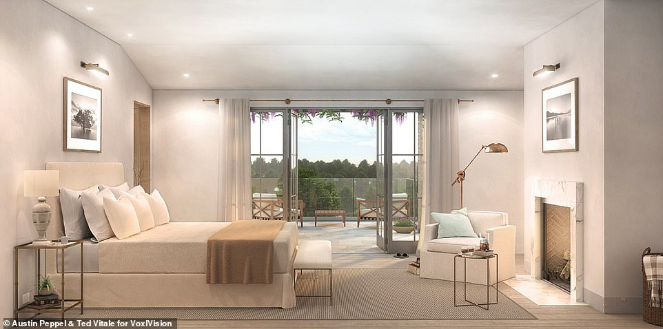 Centerpiece: Elsewhere, the home has a spacious master bedroom the features it's own patio and luxe marble bathrooms