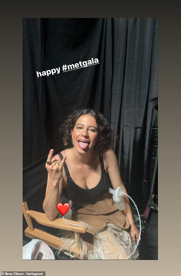 Doting mom: Ilana Glazer, who hosted the red carpet coverage alongside Keke Palmer took a moment to show herself pumping breast milk for her little one