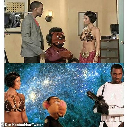 Working together:Kanye asks Kim to appear in his infamous hip-hop puppet show Alligator Boots, where she would be playing the part of Star Wars' Princess Leia; Kim and Kanye pictured in 2008