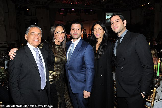 The man who was hit: PageSix said socialite Daniel Chetri (center in blue suit in 2019) went to the hospital with injuries to his head that required stitches. Here Daniel is seen with, from left Joe Moinian, Mahtab Max Moinian and Mitchell Moinian at the American Friends Of The Israel Museum Gala at The Plaza in New York City