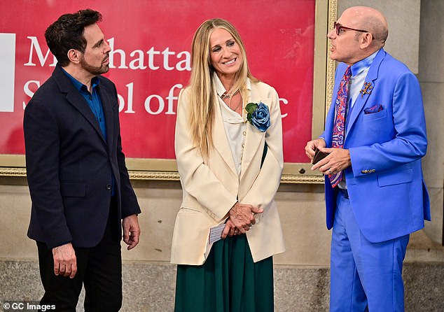 Back at it:Just two months prior to his death, Willie was spotted filming a scene with Sarah on the set of the forthcoming SATC reboot, titled And Just Like That..., in New York City; Sarah and Willie pictured with Mario Cantone (left) on July 24