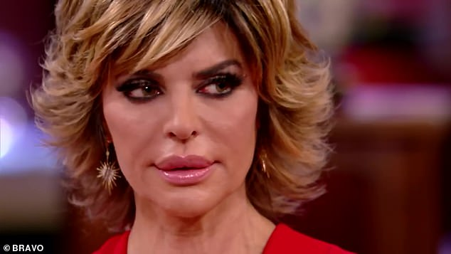 Retorting: After shedding tears over the gift back, Lisa quipped to Kim 'I think you're a really sick woman. To do something like that is sick'