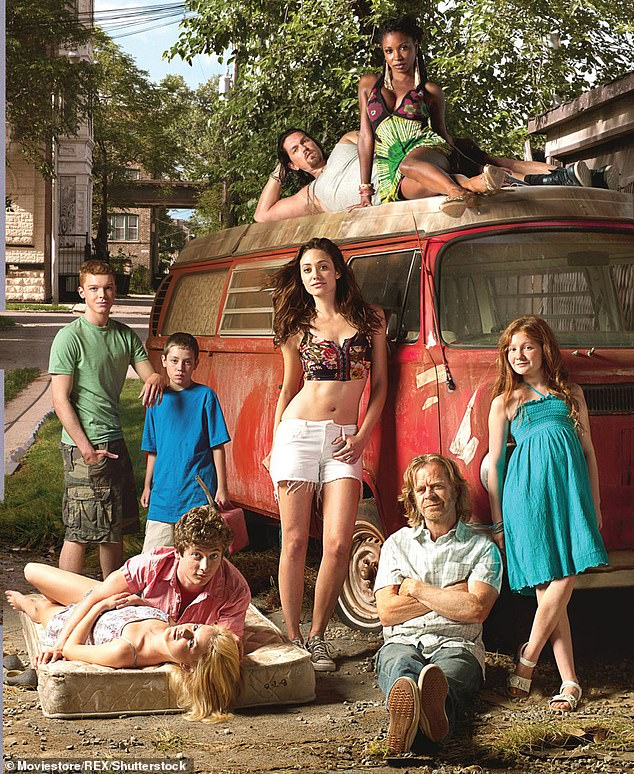Mixed bag: Kenney said she hasn't spoken to Rossum in years and said the older star alternated between being a 'good influence' and giving'not the best advice'; publicity still for Shameless from 2011 withSteve Howey, Shanola Hampton, Cameron Monaghan, Ethan Cutkosty, Rossum, Macy, Kenney, Jeremy Allen White and Laura Wiggins