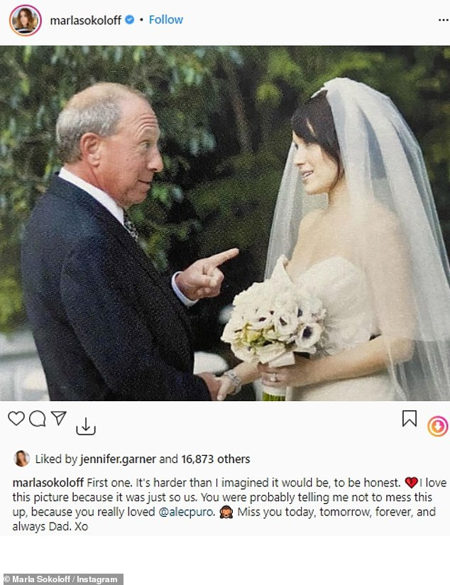 'Miss you today, tomorrow, forever, and always': Sokoloff recently paid tribute to her late father with a photo of them on her wedding day
