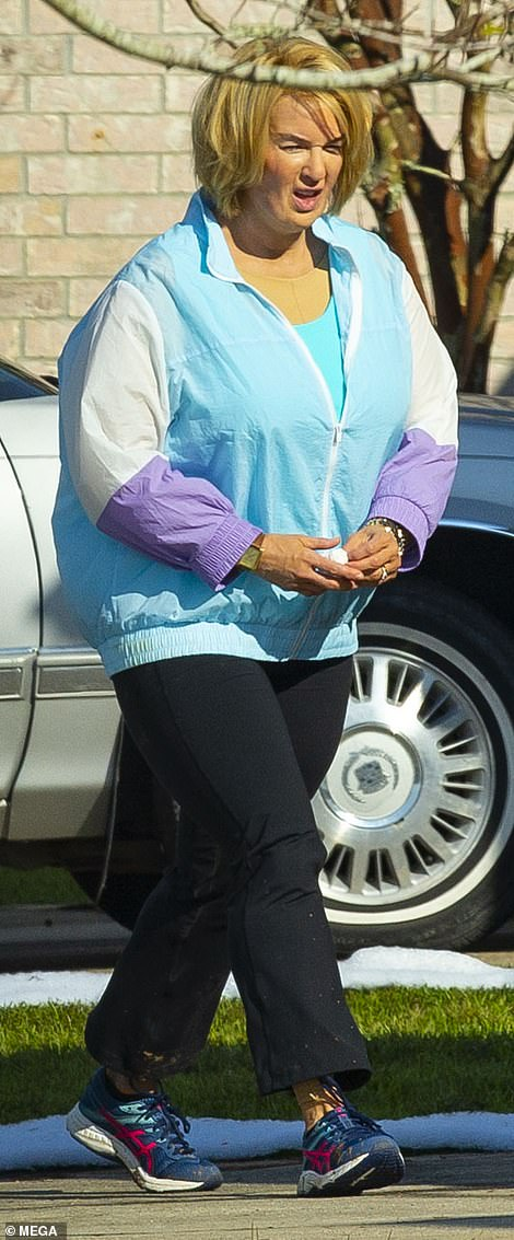 'Fat suit': She was considerably larger thanks to the padded suit to make her look heavier